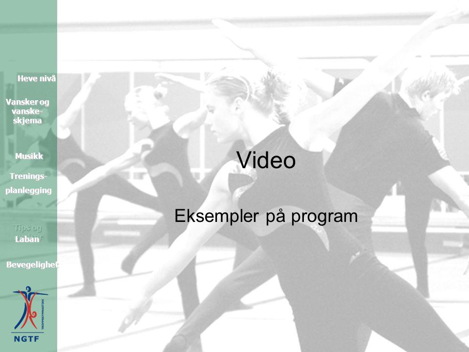Tips og øvelser Heve nivå Heve nivå Vansker og vanske- skjema Vansker og vanske- skjema Musikk Trenings- planlegging Bevegelighet Laban Video Eksempler på program