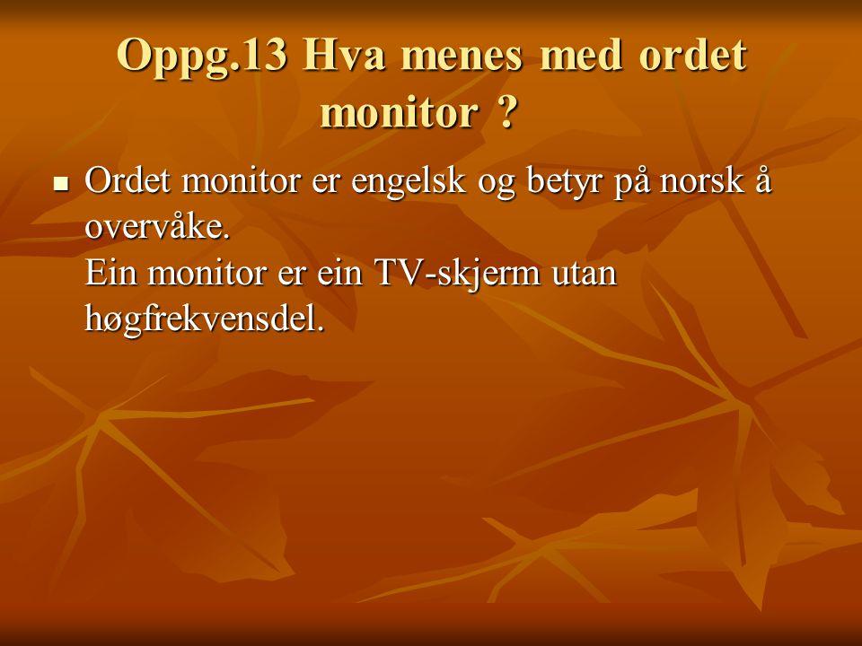 Oppg.13 Hva menes med ordet monitor .Oppg.13 Hva menes med ordet monitor .