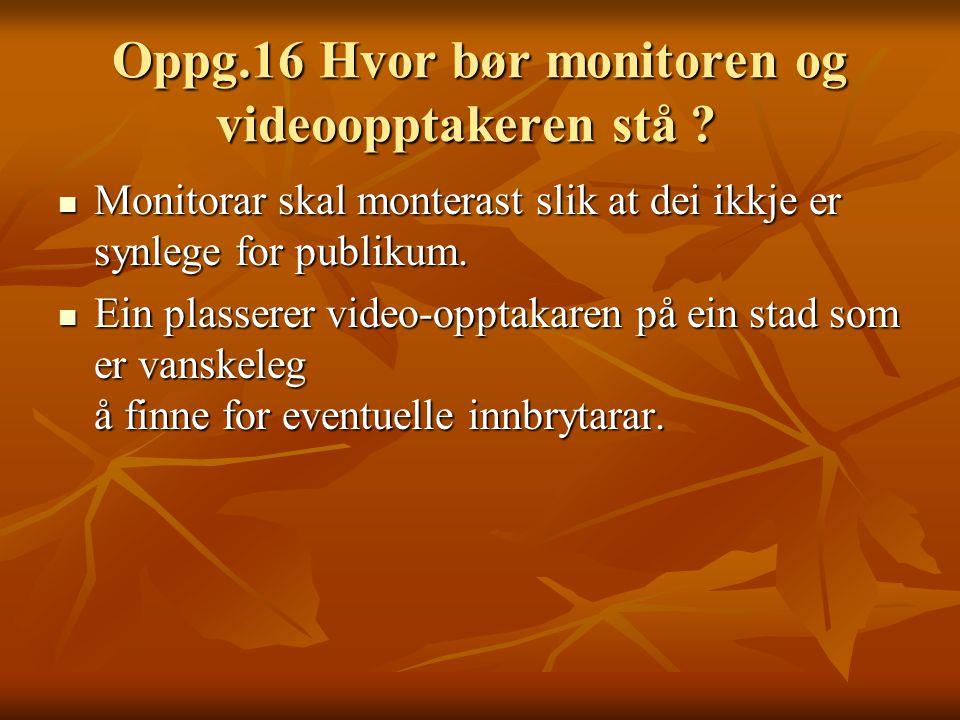 Oppg.16 Hvor bør monitoren og videoopptakeren stå .