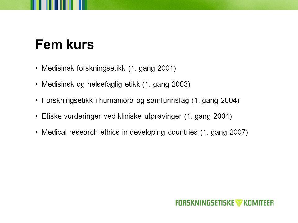 Fem kurs • Medisinsk forskningsetikk (1. gang 2001) • Medisinsk og helsefaglig etikk (1. gang 2003) • Forskningsetikk i humaniora og samfunnsfag (1. g