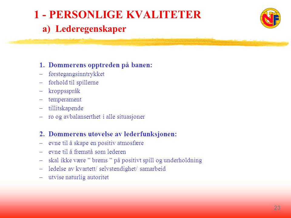 23 1 - PERSONLIGE KVALITETER a) Lederegenskaper 1.