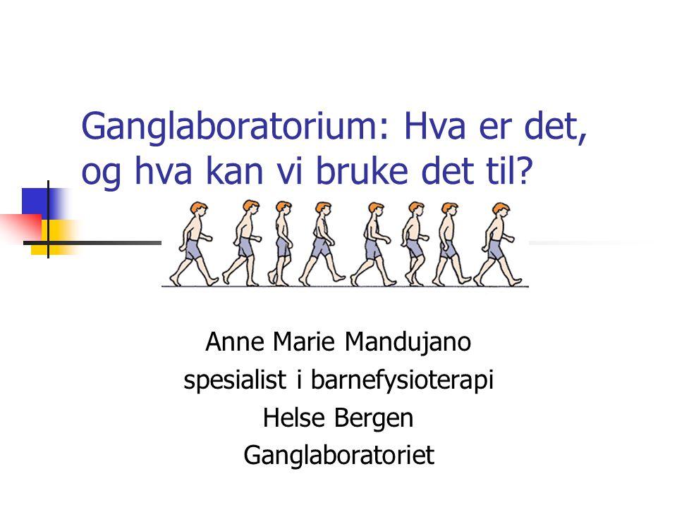 Ganglaboratorium: Hva er det, og hva kan vi bruke det til? Anne Marie Mandujano spesialist i barnefysioterapi Helse Bergen Ganglaboratoriet