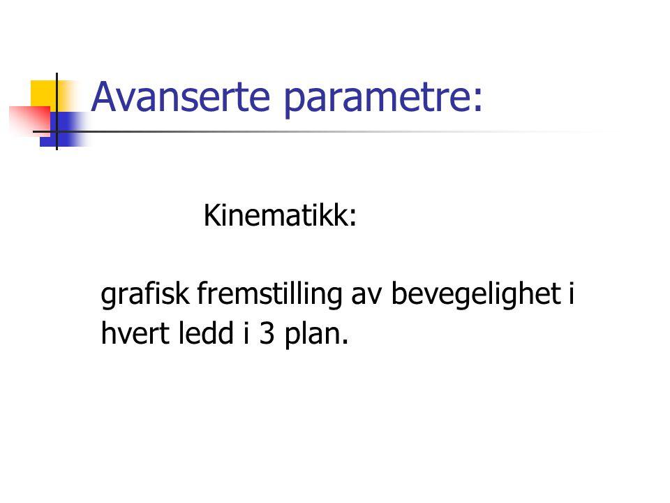 Avanserte parametre: Kinematikk: grafisk fremstilling av bevegelighet i hvert ledd i 3 plan.