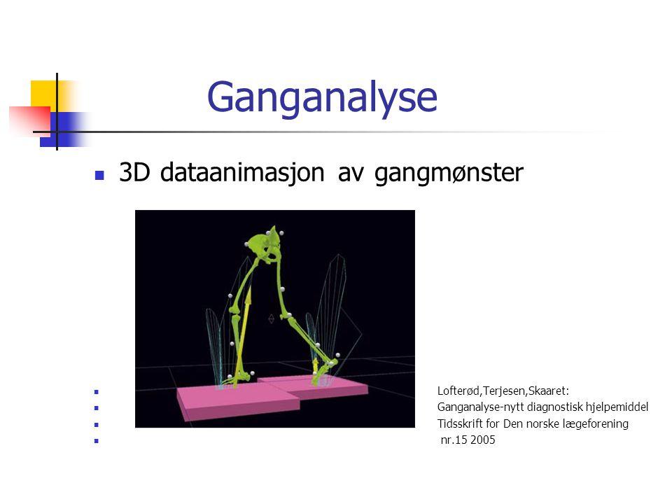 Ganganalyse  3D dataanimasjon av gangmønster  Lofterød,Terjesen,Skaaret:  Ganganalyse-nytt diagnostisk hjelpemiddel  Tidsskrift for Den norske læg