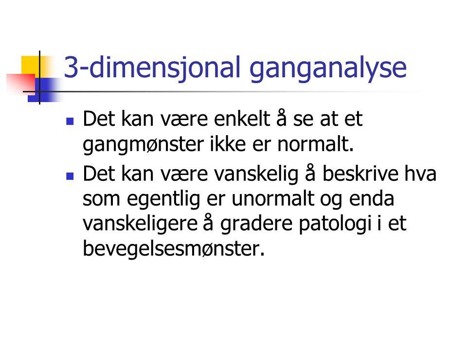 3-dimensjonal ganganalyse  Det kan være enkelt å se at et gangmønster ikke er normalt.  Det kan være vanskelig å beskrive hva som egentlig er unorma
