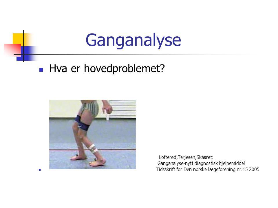 Ganganalyse  Hva er hovedproblemet? Lofterød,Terjesen,Skaaret: Ganganalyse-nytt diagnostisk hjelpemiddel  Tidsskrift for Den norske lægeforening nr.