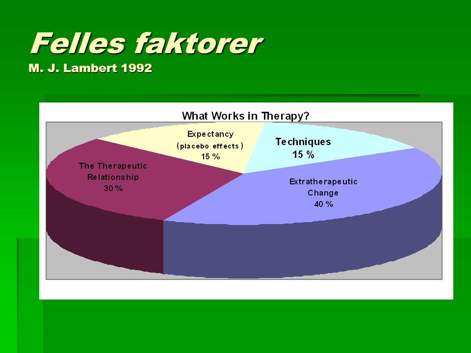 Felles faktorer M. J. Lambert 1992