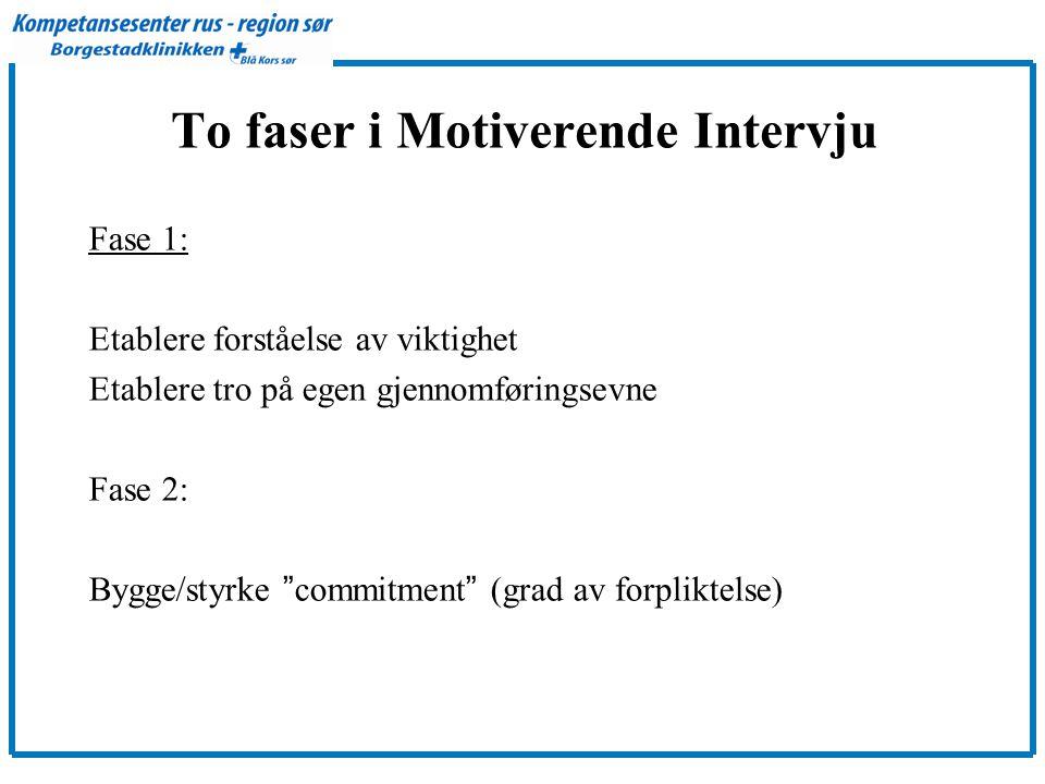 To faser i Motiverende Intervju Fase 1: Etablere forståelse av viktighet Etablere tro på egen gjennomføringsevne Fase 2: Bygge/styrke commitment (grad av forpliktelse)