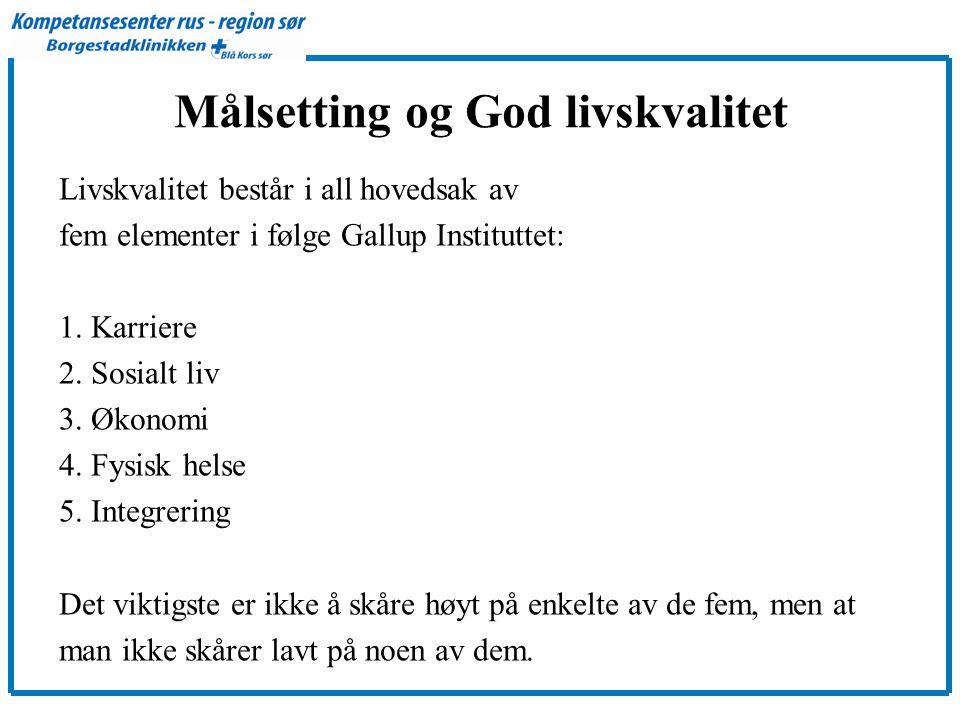 Målsetting og God livskvalitet Livskvalitet består i all hovedsak av fem elementer i følge Gallup Instituttet: 1.