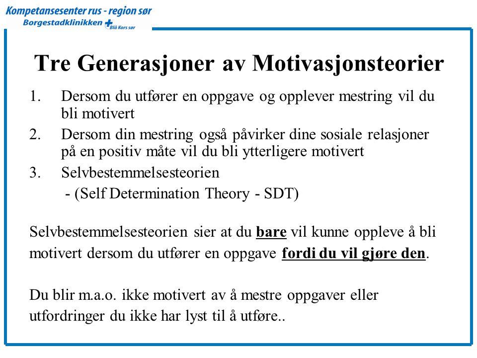 Tre Generasjoner av Motivasjonsteorier 1.Dersom du utfører en oppgave og opplever mestring vil du bli motivert 2.Dersom din mestring også påvirker dine sosiale relasjoner på en positiv måte vil du bli ytterligere motivert 3.Selvbestemmelsesteorien - (Self Determination Theory - SDT) Selvbestemmelsesteorien sier at du bare vil kunne oppleve å bli motivert dersom du utfører en oppgave fordi du vil gjøre den.