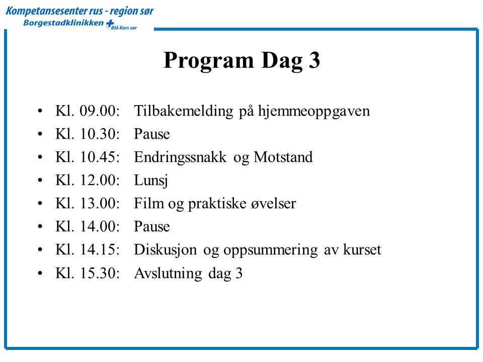Program Dag 3 •Kl.09.00: Tilbakemelding på hjemmeoppgaven •Kl.