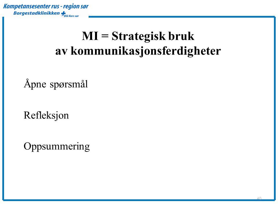 MI = Strategisk bruk av kommunikasjonsferdigheter Åpne spørsmål Refleksjon Oppsummering 40