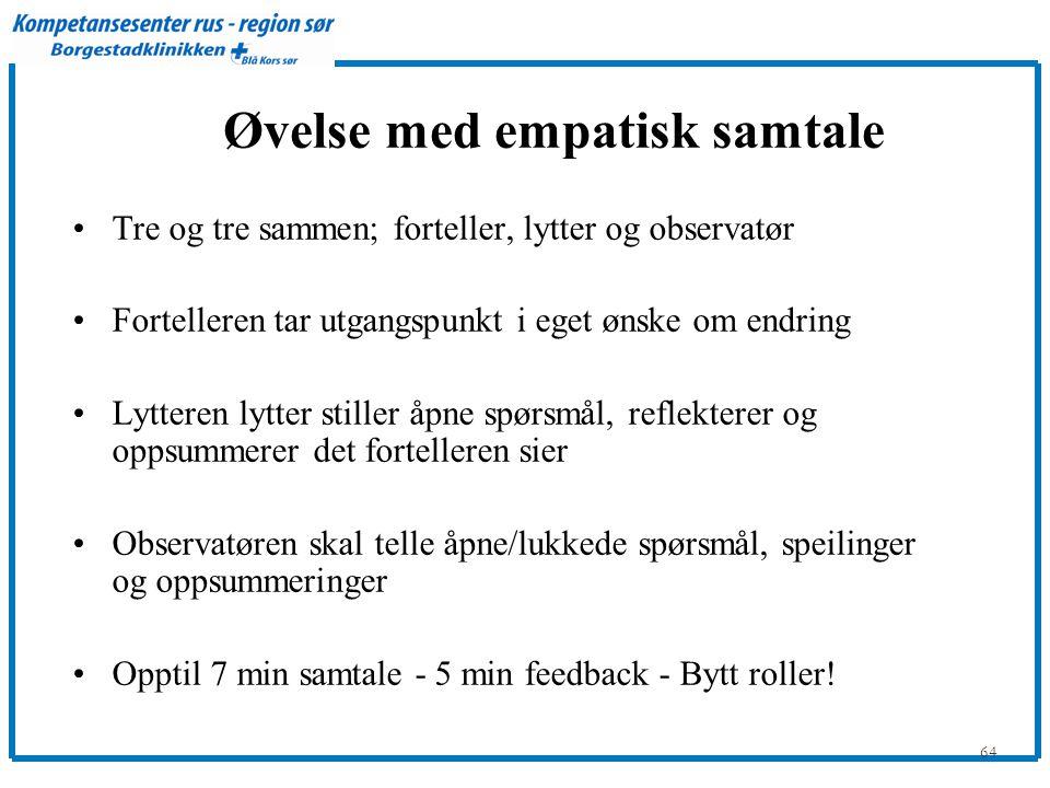 64 Øvelse med empatisk samtale •Tre og tre sammen; forteller, lytter og observatør •Fortelleren tar utgangspunkt i eget ønske om endring •Lytteren lytter stiller åpne spørsmål, reflekterer og oppsummerer det fortelleren sier •Observatøren skal telle åpne/lukkede spørsmål, speilinger og oppsummeringer •Opptil 7 min samtale - 5 min feedback - Bytt roller!