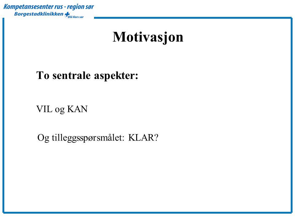 Motivasjon To sentrale aspekter: VIL og KAN Og tilleggsspørsmålet: KLAR?