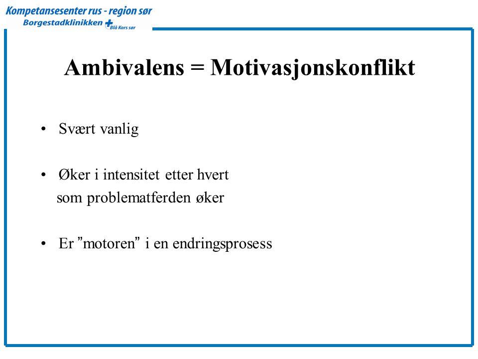 Ambivalens = Motivasjonskonflikt •Svært vanlig •Øker i intensitet etter hvert som problematferden øker •Er motoren i en endringsprosess