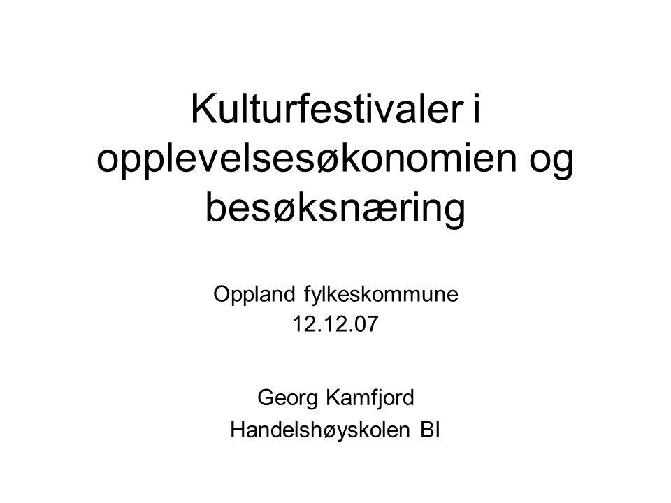 Kulturfestivaler i opplevelsesøkonomien og besøksnæring Oppland fylkeskommune 12.12.07 Georg Kamfjord Handelshøyskolen BI