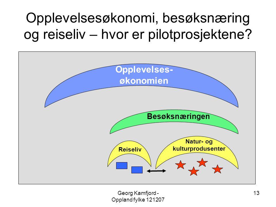 Georg Kamfjord - Oppland fylke 121207 13 Opplevelsesøkonomi, besøksnæring og reiseliv – hvor er pilotprosjektene? Opplevelses- økonomien Besøksnæringe