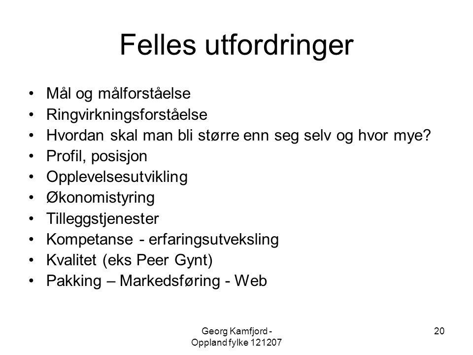 Georg Kamfjord - Oppland fylke 121207 20 Felles utfordringer •Mål og målforståelse •Ringvirkningsforståelse •Hvordan skal man bli større enn seg selv
