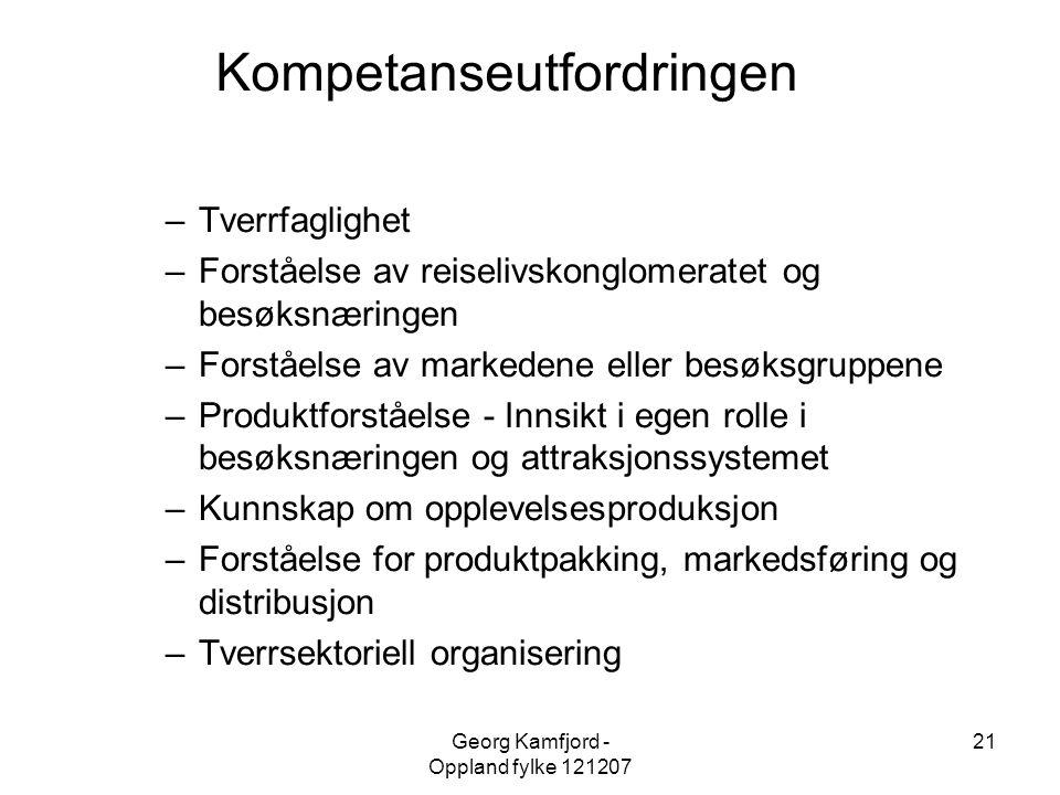 Georg Kamfjord - Oppland fylke 121207 21 Kompetanseutfordringen –Tverrfaglighet –Forståelse av reiselivskonglomeratet og besøksnæringen –Forståelse av