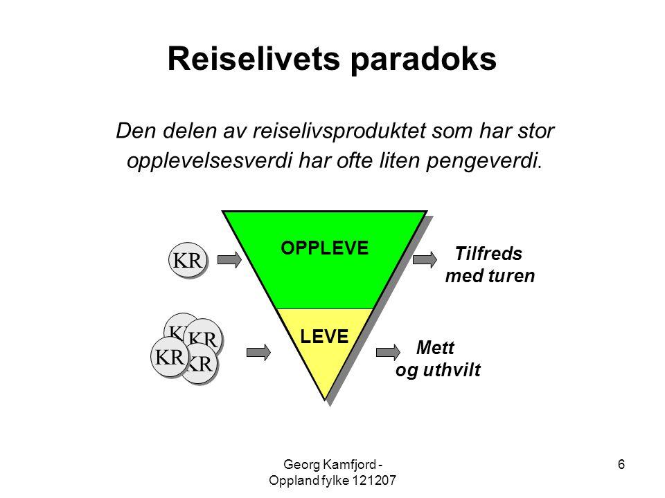 Georg Kamfjord - Oppland fylke 121207 6 OPPLEVE KR LEVE Tilfreds med turen Mett og uthvilt Reiselivets paradoks Den delen av reiselivsproduktet som ha