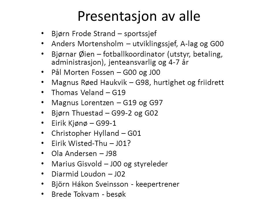 Presentasjon av alle • Bjørn Frode Strand – sportssjef • Anders Mortensholm – utviklingssjef, A-lag og G00 • Bjørnar Øien – fotballkoordinator (utstyr