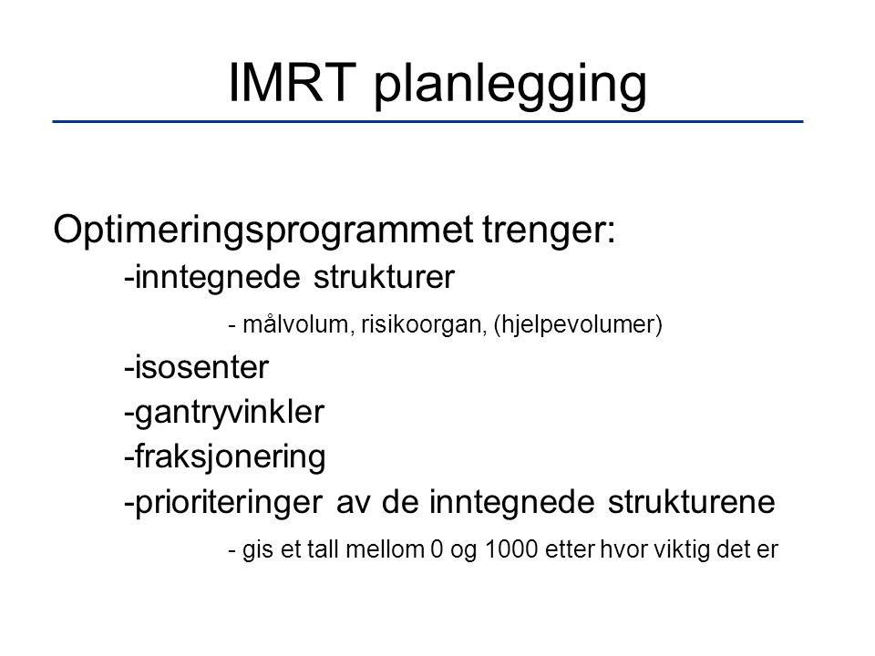 IMRT planlegging Optimeringsprogrammet trenger: -inntegnede strukturer - målvolum, risikoorgan, (hjelpevolumer) -isosenter -gantryvinkler -fraksjoneri