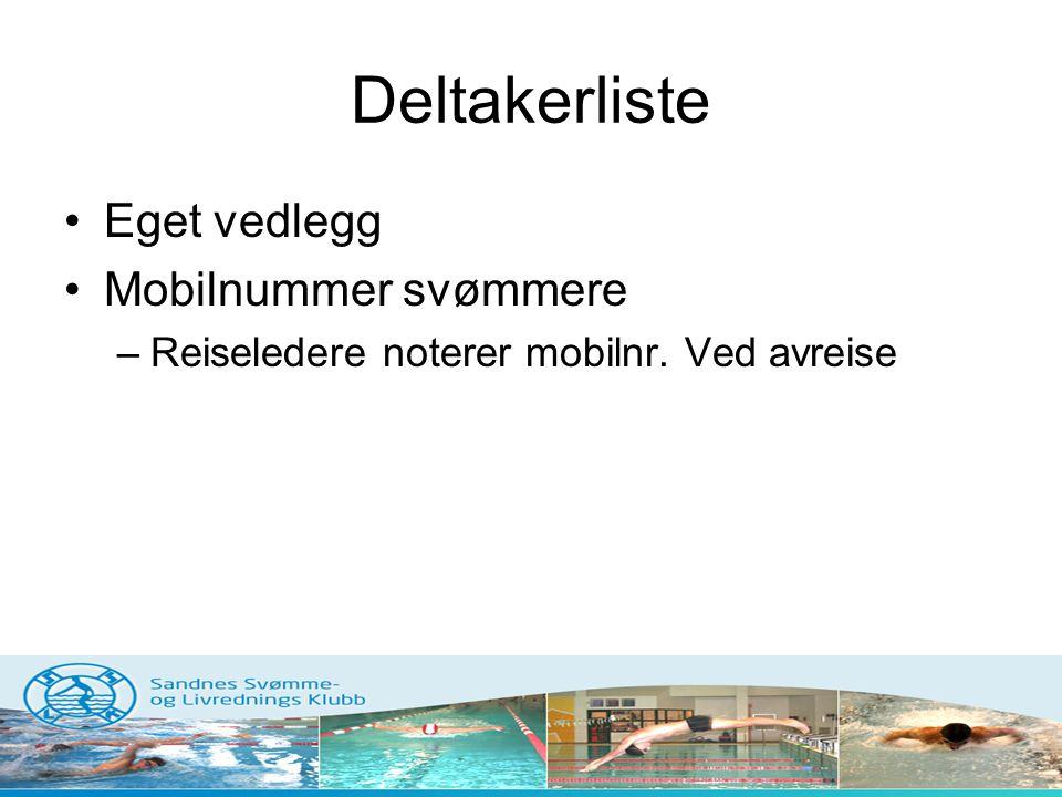 Deltakerliste •Eget vedlegg •Mobilnummer svømmere –Reiseledere noterer mobilnr. Ved avreise