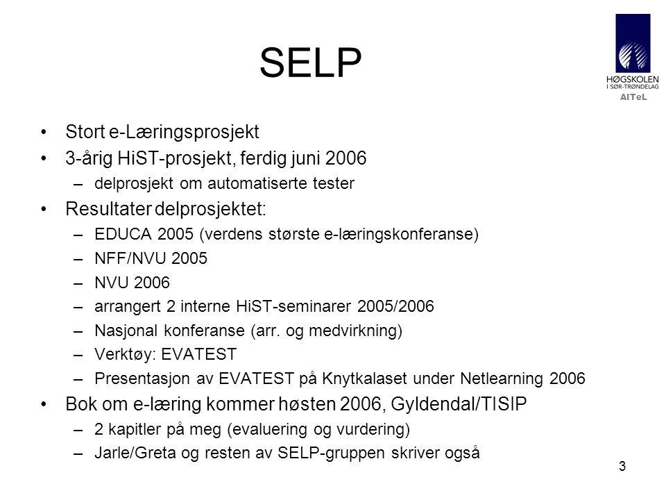 AITeL 3 SELP •Stort e-Læringsprosjekt •3-årig HiST-prosjekt, ferdig juni 2006 –delprosjekt om automatiserte tester •Resultater delprosjektet: –EDUCA 2005 (verdens største e-læringskonferanse) –NFF/NVU 2005 –NVU 2006 –arrangert 2 interne HiST-seminarer 2005/2006 –Nasjonal konferanse (arr.