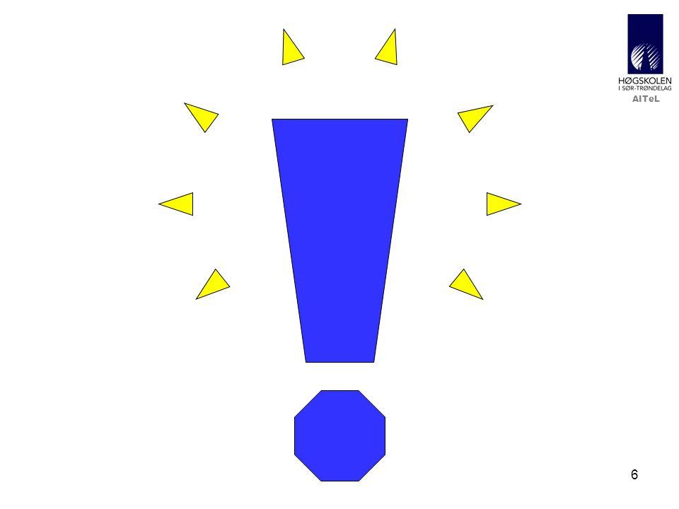AITeL 27 Kreativ bruk 4: Test før og etter leksjon (FU) •Motivasjon/bakgrunn –Fjernstudenter får en leksjon hver uke –Test før og etter forelesning fungerte ganske bra på campus •Mål –Vil øke læringen og utbyttet av arbeid med leksjon –Vil bevisstgjøre studenter på egen læring og skape motivasjon •Utfordringer –Test må tas før og etter bearbeiding av lærestoff –Ikke støtte for sekvensiering i it's learning •Metode –Setter opp manuell sekvens
