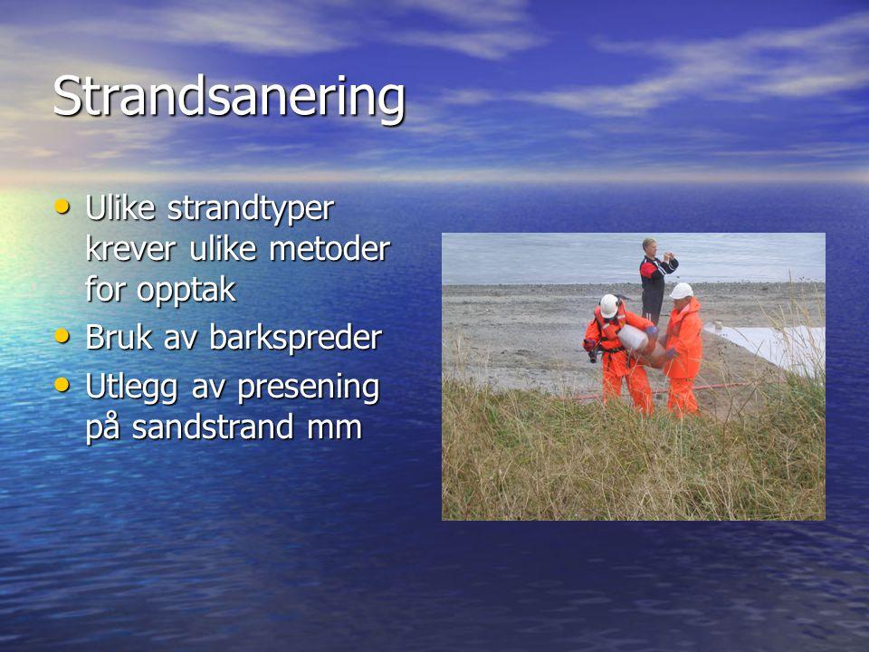 Strandsanering • Ulike strandtyper krever ulike metoder for opptak • Bruk av barkspreder • Utlegg av presening på sandstrand mm