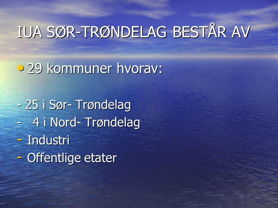 IUA SØR-TRØNDELAG BESTÅR AV • 29 kommuner hvorav: - 25 i Sør- Trøndelag - 4 i Nord- Trøndelag - Industri - Offentlige etater