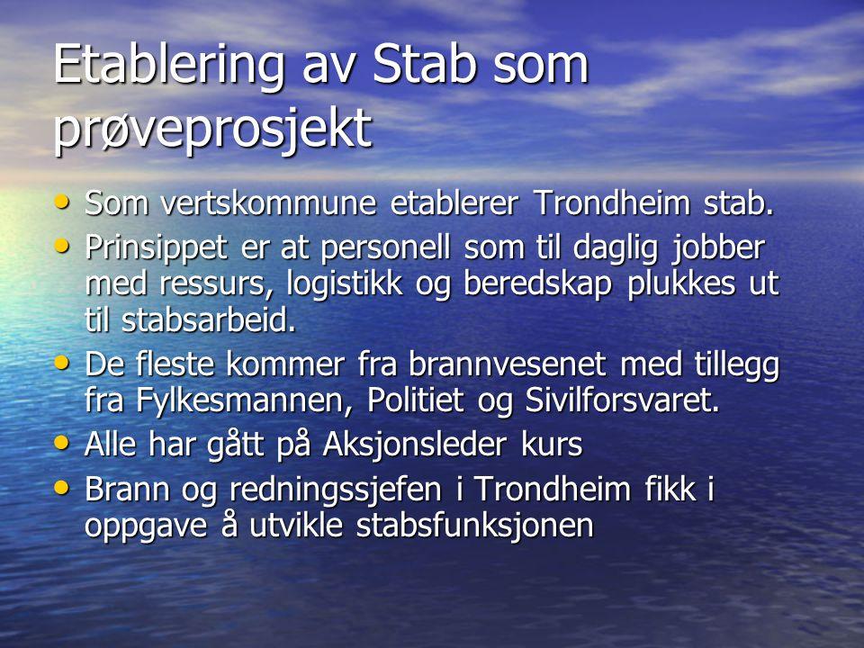 Etablering av Stab som prøveprosjekt • Som vertskommune etablerer Trondheim stab. • Prinsippet er at personell som til daglig jobber med ressurs, logi