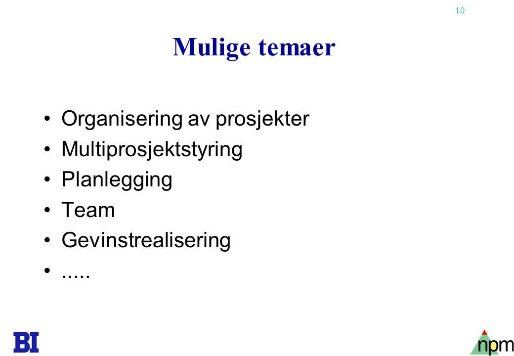 10 Mulige temaer •Organisering av prosjekter •Multiprosjektstyring •Planlegging •Team •Gevinstrealisering •.....