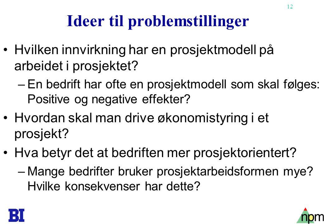 12 Ideer til problemstillinger •Hvilken innvirkning har en prosjektmodell på arbeidet i prosjektet? –En bedrift har ofte en prosjektmodell som skal fø