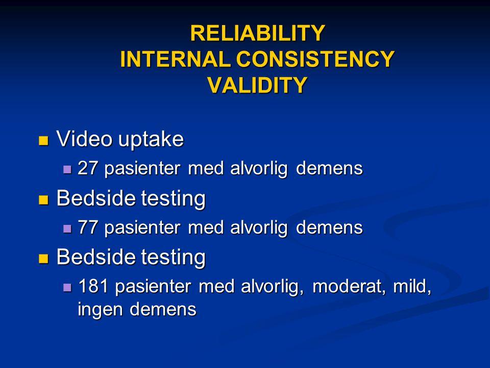 RELIABILITY INTERNAL CONSISTENCY VALIDITY  Video uptake  27 pasienter med alvorlig demens  Bedside testing  77 pasienter med alvorlig demens  Bedside testing  181 pasienter med alvorlig, moderat, mild, ingen demens