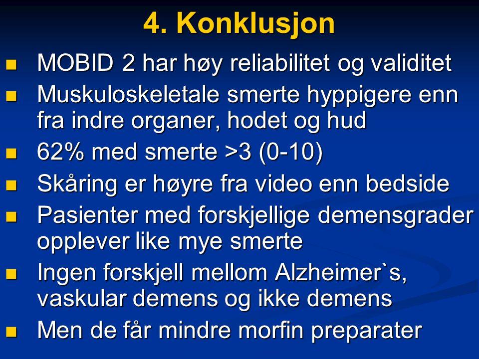 4. Konklusjon  MOBID 2 har høy reliabilitet og validitet  Muskuloskeletale smerte hyppigere enn fra indre organer, hodet og hud  62% med smerte >3