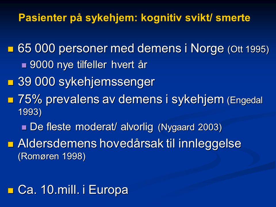 Pasienter på sykehjem: kognitiv svikt/ smerte  65 000 personer med demens i Norge (Ott 1995)  9000 nye tilfeller hvert år  39 000 sykehjemssenger  75% prevalens av demens i sykehjem (Engedal 1993)  De fleste moderat/ alvorlig (Nygaard 2003)  Aldersdemens hovedårsak til innleggelse (Romøren 1998)  Ca.