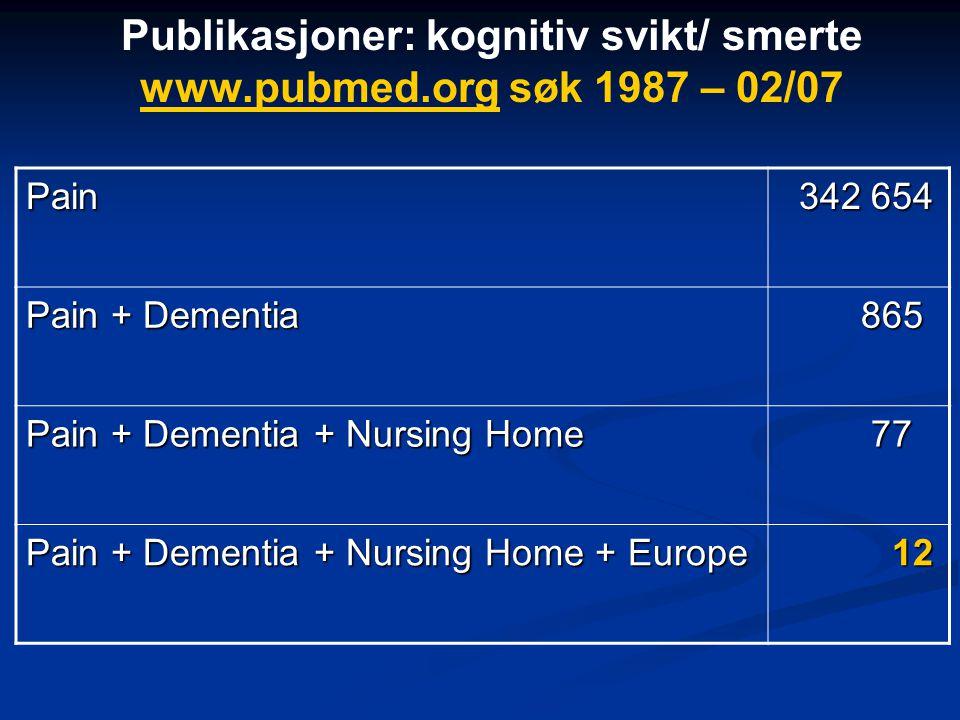 Publikasjoner: kognitiv svikt/ smerte www.pubmed.org søk 1987 – 02/07 www.pubmed.orgPain 342 654 342 654 Pain + Dementia 865 865 Pain + Dementia + Nursing Home 77 77 Pain + Dementia + Nursing Home + Europe 12 12