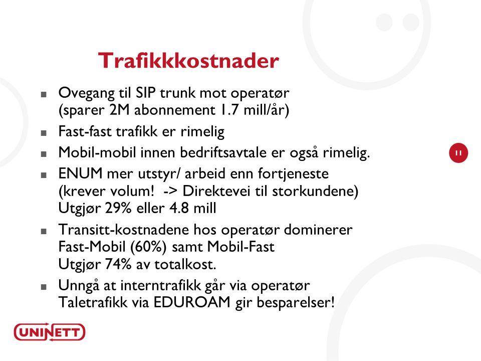 11 Trafikkkostnader  Ovegang til SIP trunk mot operatør (sparer 2M abonnement 1.7 mill/år)  Fast-fast trafikk er rimelig  Mobil-mobil innen bedriftsavtale er også rimelig.