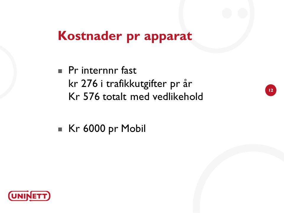 12 Kostnader pr apparat  Pr internnr fast kr 276 i trafikkutgifter pr år Kr 576 totalt med vedlikehold  Kr 6000 pr Mobil