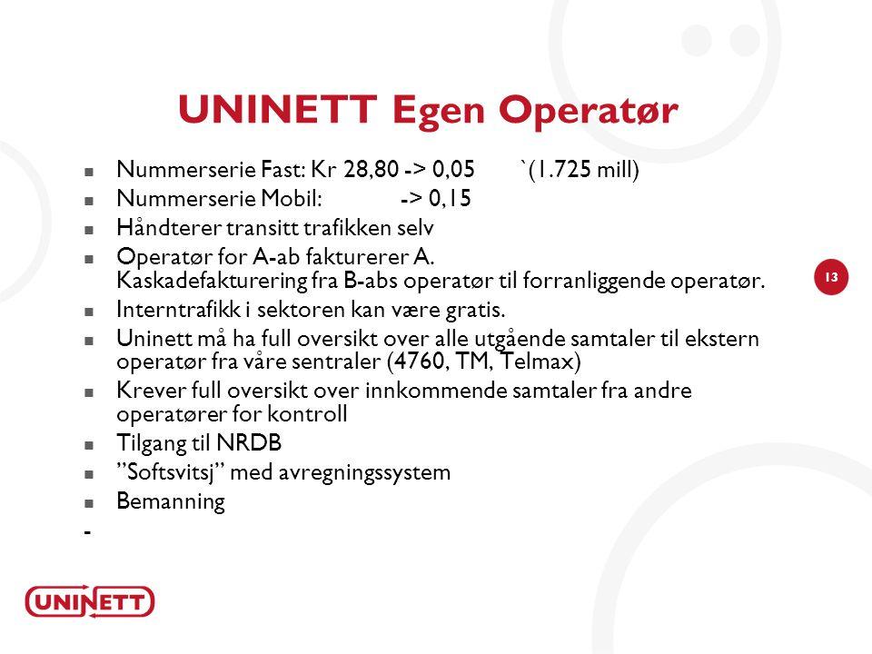13 UNINETT Egen Operatør  Nummerserie Fast: Kr 28,80 -> 0,05`(1.725 mill)  Nummerserie Mobil: -> 0,15  Håndterer transitt trafikken selv  Operatør for A-ab fakturerer A.