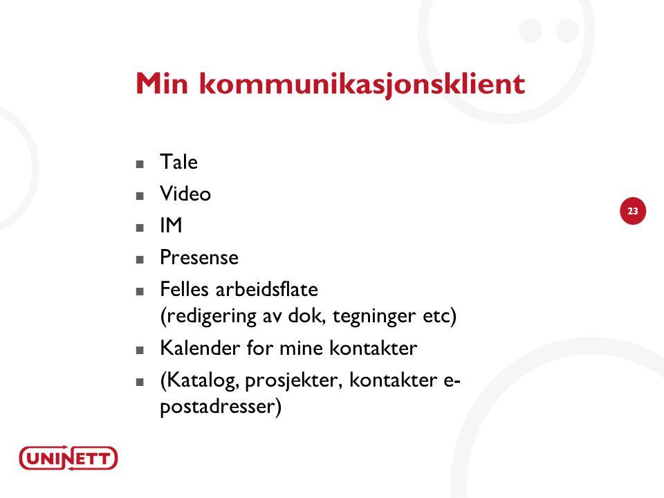 23 Min kommunikasjonsklient  Tale  Video  IM  Presense  Felles arbeidsflate (redigering av dok, tegninger etc)  Kalender for mine kontakter  (Katalog, prosjekter, kontakter e postadresser)