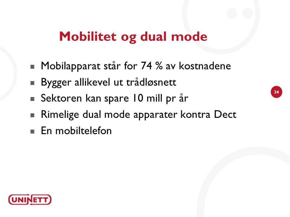 24 Mobilitet og dual mode  Mobilapparat står for 74 % av kostnadene  Bygger allikevel ut trådløsnett  Sektoren kan spare 10 mill pr år  Rimelige dual mode apparater kontra Dect  En mobiltelefon