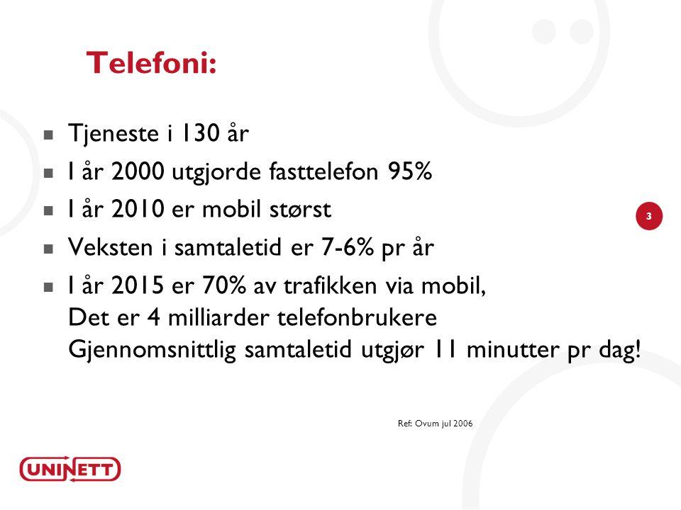 3 Telefoni:  Tjeneste i 130 år  I år 2000 utgjorde fasttelefon 95%  I år 2010 er mobil størst  Veksten i samtaletid er 7-6% pr år  I år 2015 er 70% av trafikken via mobil, Det er 4 milliarder telefonbrukere Gjennomsnittlig samtaletid utgjør 11 minutter pr dag.