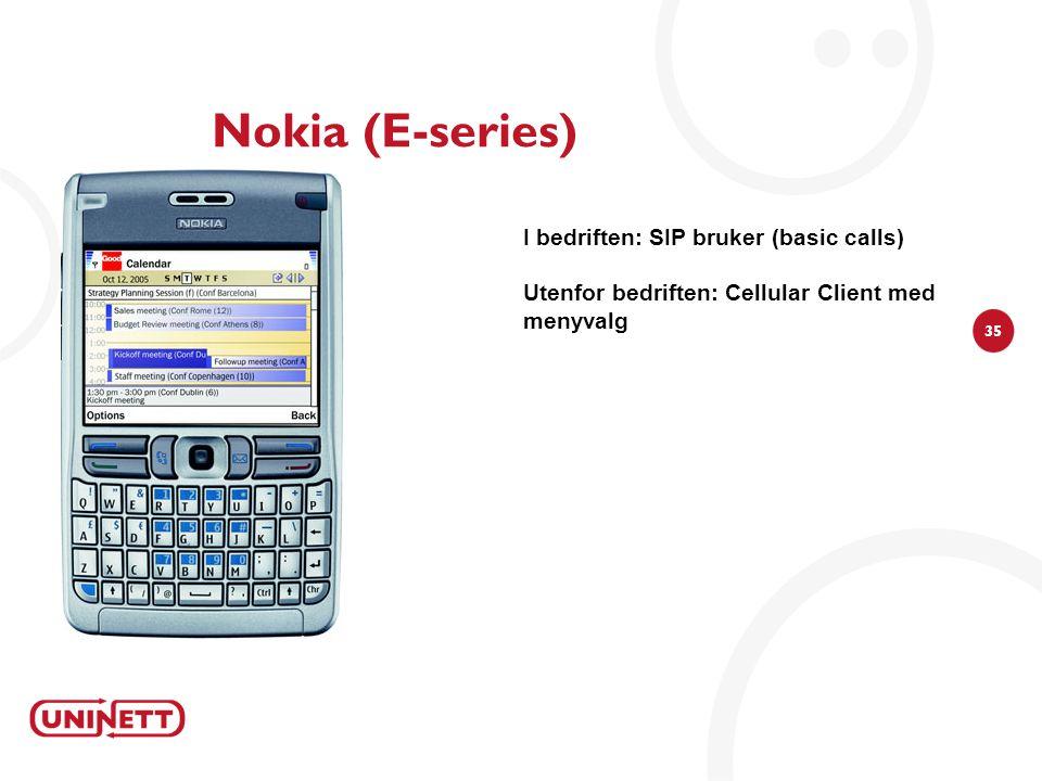35 Nokia (E-series) I bedriften: SIP bruker (basic calls) Utenfor bedriften: Cellular Client med menyvalg