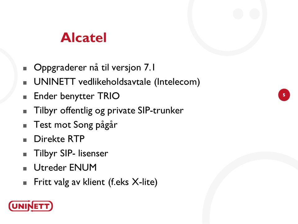 5 Alcatel  Oppgraderer nå til versjon 7.1  UNINETT vedlikeholdsavtale (Intelecom)  Ender benytter TRIO  Tilbyr offentlig og private SIP-trunker  Test mot Song pågår  Direkte RTP  Tilbyr SIP- lisenser  Utreder ENUM  Fritt valg av klient (f.eks X-lite)