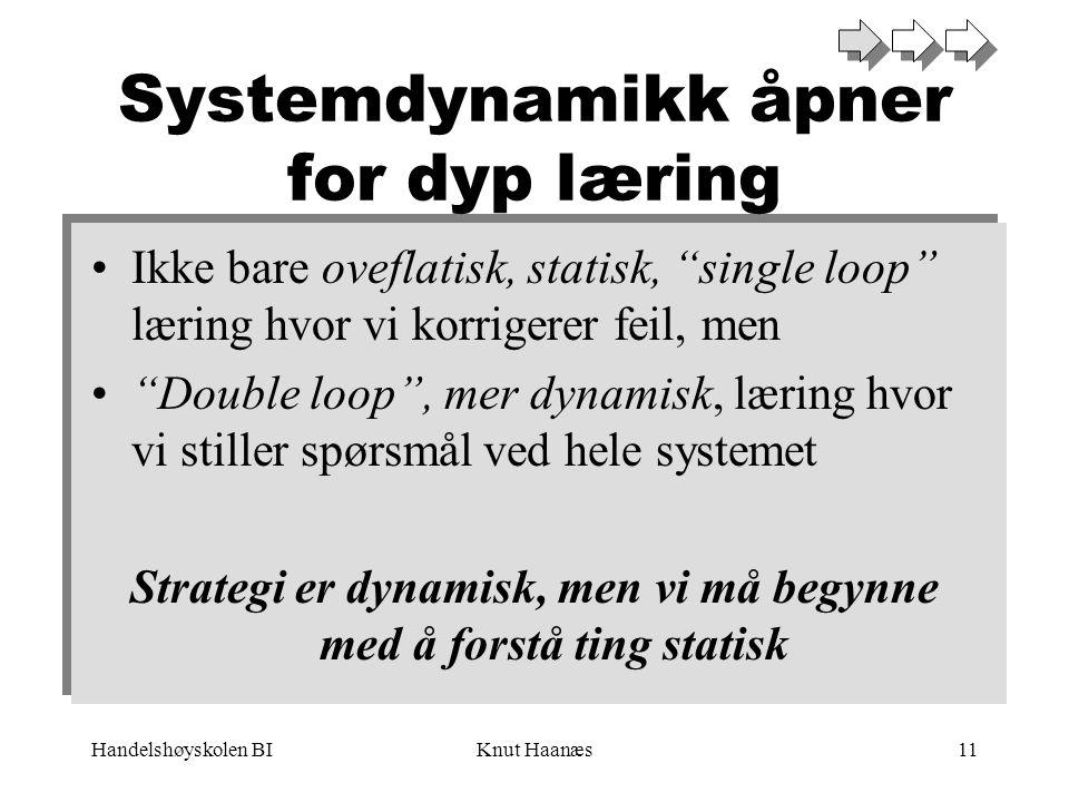 "Handelshøyskolen BIKnut Haanæs11 Systemdynamikk åpner for dyp læring •Ikke bare oveflatisk, statisk, ""single loop"" læring hvor vi korrigerer feil, men"