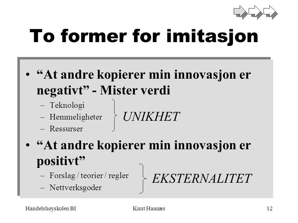 """Handelshøyskolen BIKnut Haanæs12 To former for imitasjon •""""At andre kopierer min innovasjon er negativt"""" - Mister verdi –Teknologi –Hemmeligheter –Res"""