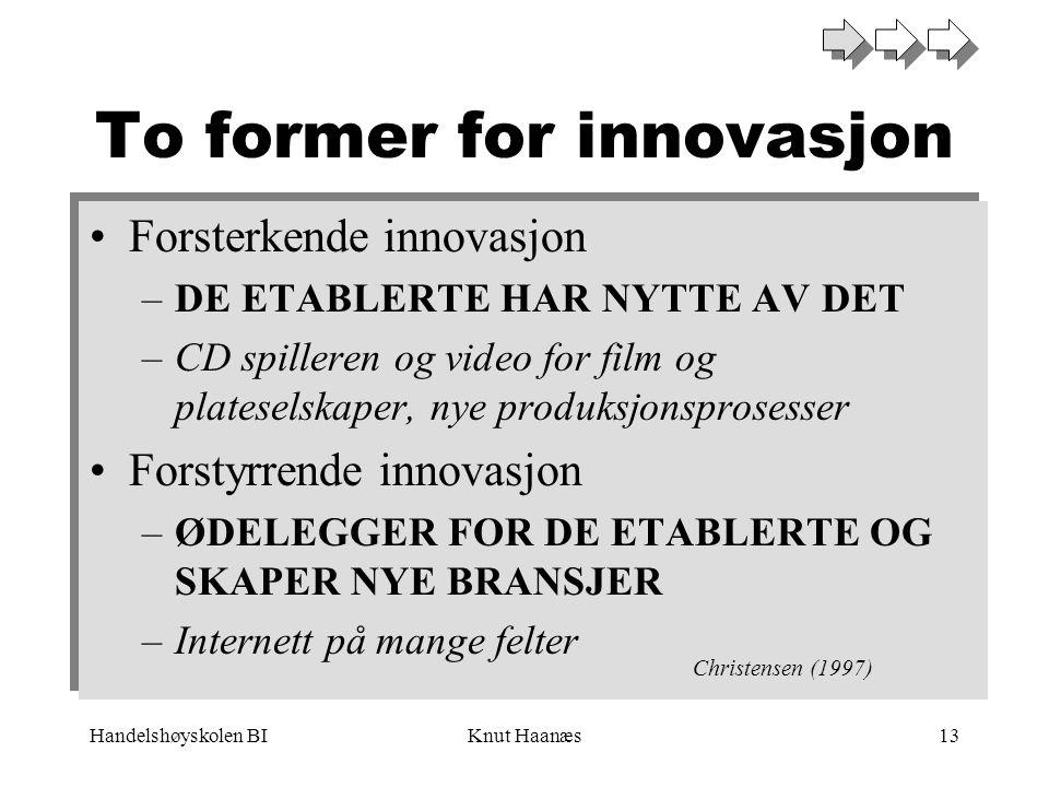 Handelshøyskolen BIKnut Haanæs13 To former for innovasjon •Forsterkende innovasjon –DE ETABLERTE HAR NYTTE AV DET –CD spilleren og video for film og p