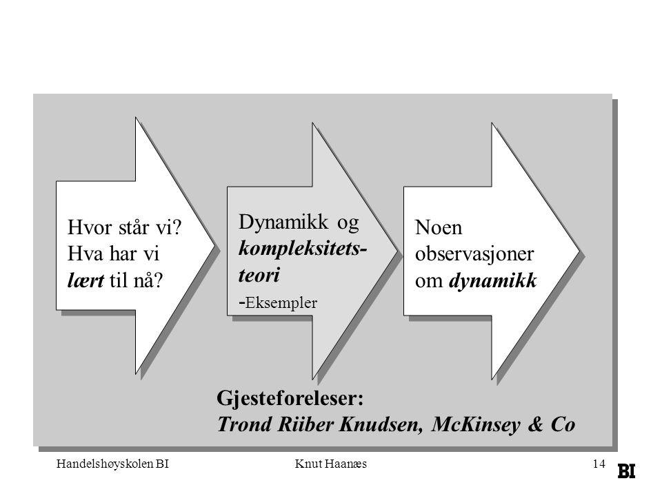 Handelshøyskolen BIKnut Haanæs14 Dynamikk og kompleksitets- teori - Eksempler Noen observasjoner om dynamikk Gjesteforeleser: Trond Riiber Knudsen, Mc